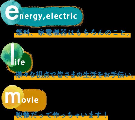 燃料、家電機器はもちろんこと。様々な視点で皆様の生活をお手伝い。映像だって作っちゃいます。