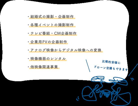 ・結婚式の撮影・企画制作・各種イベントの撮影制作・テレビ番組・CM企画制作・企業用PVの企画制作・アナログ映像からデジタル映像への変換・映像機器のレンタル・多映像関連事業